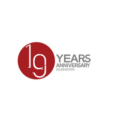 19 years anniversary logotype design with big red vector