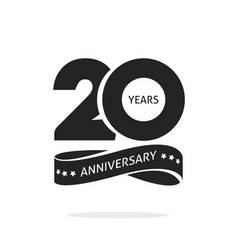 20 years anniversary logo template isolated black vector