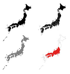 a set detailed accurate maps japan vector image