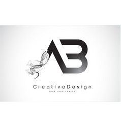 Ab letter logo design with black smoke vector