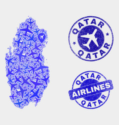 aeroplane composition qatar map and grunge vector image