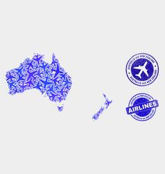 aeroplane mosaic australia and new zealand vector image