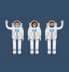 astronaut team flat style vector image