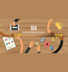 Bia business impact analysis team work together vector