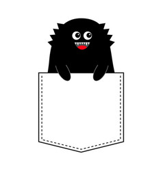 black monster silhouette in the pocket holding vector image