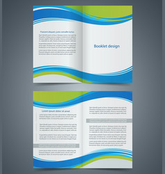 blue brochure template design with green elements vector image