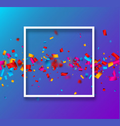 blue festive background with colorful confetti vector image