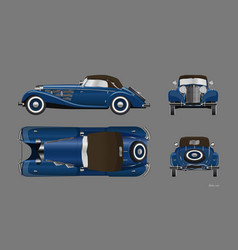 blue retro car vintage cabriolet vector image