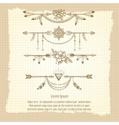 Boho dividers with ethnic elements vector image