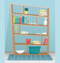 Bookcase with books and vases vector