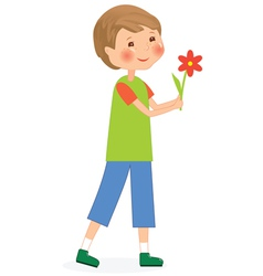 Boy with flower vector