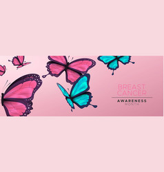 Breast cancer awareness banner pink butterfly vector