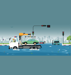 car lost in the flood vector image