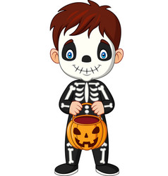 Cartoon kid with skeleton costume holding pumpkin vector