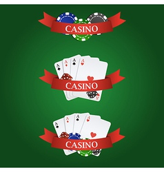 Casino elements ribbon playing cards dices vector