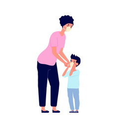 child in mask mother care mask prevention flu or vector image