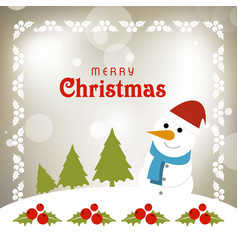 Chrismtas card with snow man and cherries vector