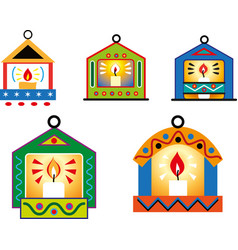 Christmas decorations in shape small house vector