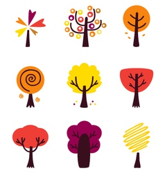 Colorful Autumn Trees set isolated on white vector image