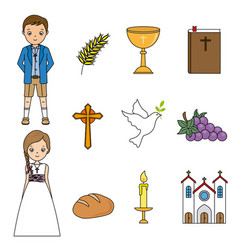 Communion isolated icons vector