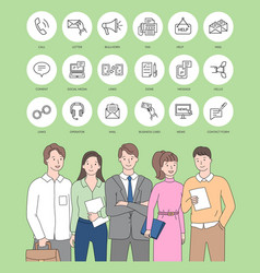 Conference business people meeting and icons vector