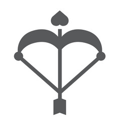 cupid bow glyph icon love and valentine arrow vector image
