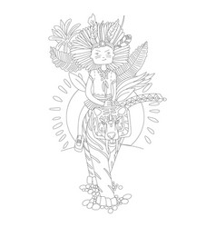 cute hand draw coloring page with brave wild child vector image