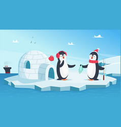 cute penguins in love christmas winter animals vector image