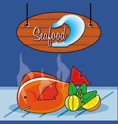 Delicious fish sea food with lemon vector