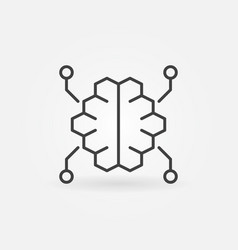 Digital brain outline icon in thin line vector