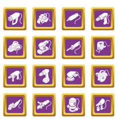 Electric tools icons set purple square vector