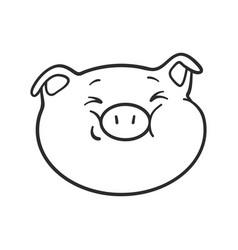 Emoji pig for coloring book emoticon icon vector