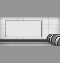 Empty billboard on subway station realistic vector