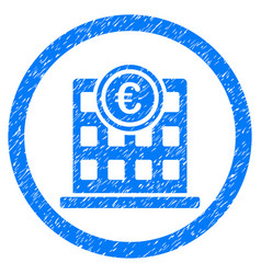 Euro company building rounded icon rubber stamp vector