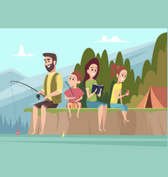 family travellers couple outdoor explorers kids vector image