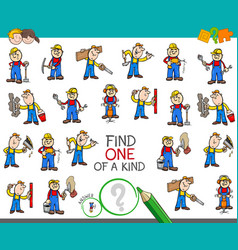 Find one of a kind game with worker characters vector