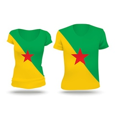 Flag shirt design of French Guiana vector