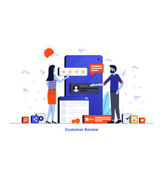 flat color modern design - customer reiews vector image
