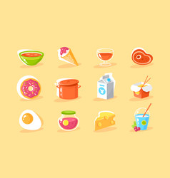flat food icon set with egg milk donut chinese vector image