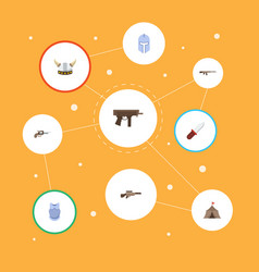 Flat icons warrior revolver gun and other vector