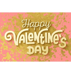 Gold leaf boho chic style happy valentines day vector image