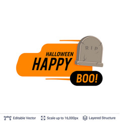 grave monument and halloween text vector image