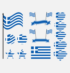 greece flag set collection of symbols flag vector image