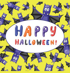 Greeting halloween card with cartoon funny bats vector