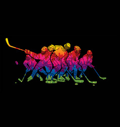 group ice hockey players action cartoon sport vector image