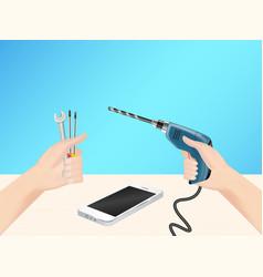 hand using repair tool for self fixing smartphone vector image