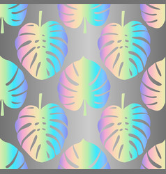 holographic monstera leaves seamless pattern vector image