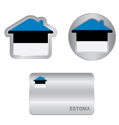 Home icon on the Estonia flag vector image