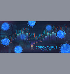 Impact coronavirus on stock exchange vector