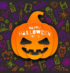 jack-o-lantern pumpkin cutout from paper on a vector image